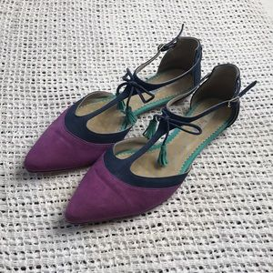 Boden 10.5 Colorblock T-Strap Pointed Toe Sandals